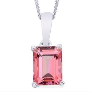 2ct Pink Topaz Sterling Silver Necklace